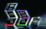 Slanted Hex Paper Weight Acrylic Award Boss Gift Awards