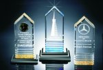 Fluted Bottom Beveled Tower Acrylic Award Colored Acrylic Awards