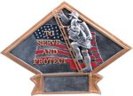 Firefighter Diamond Plate Resin Diamond Plate Resin Trophy Awards