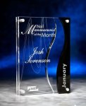 Wave Cutout Clear and Black Acrylic Award Employee Awards